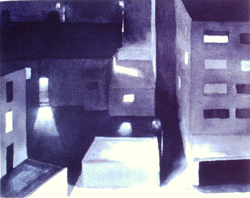 An ink wash painting of buildings at night