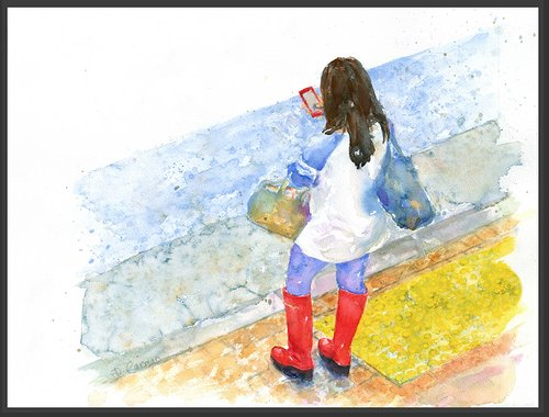 water-color of woman in red boots looking at her phone