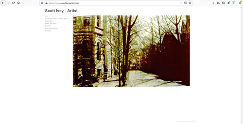 The front page of Scott Ivey's art portfolio website