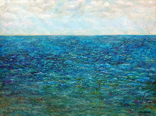 A painting of a textured, deep blue oceanscape