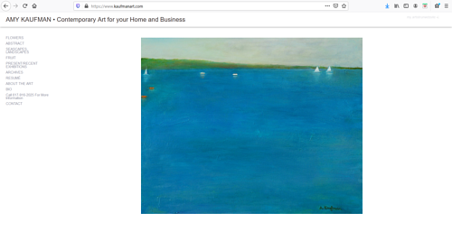 A screen capture of Amy Kaufman's art portfolio website