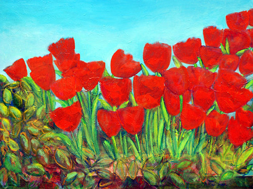 A mixed media artwork depicting a field of bright red tulips