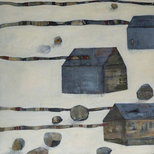 An acrylic painting of houses in the snow