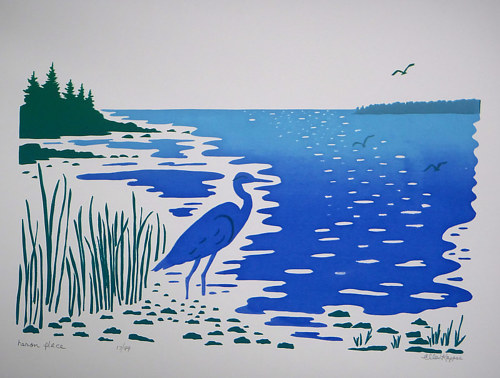 A silkscreen print of a heron