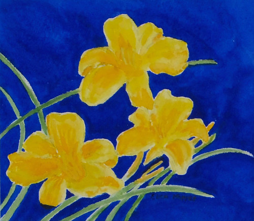 A watercolour painting of a trio of lilies