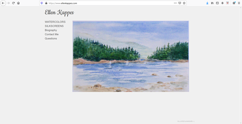 A screen capture of Ellen Kappes' art portfolio website