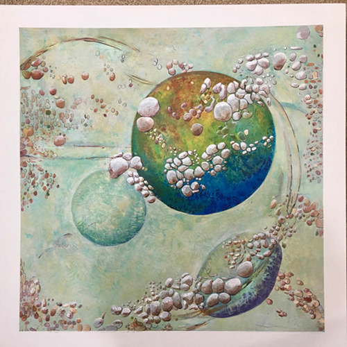 A mixed media artwork depicting a planet with textured matter