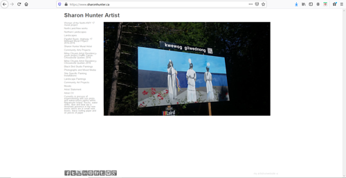 A screen capture pf Sharon Hunter's art portfolio website