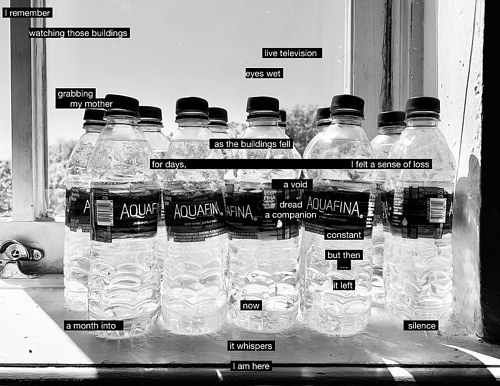 A black and white photograph of water bottles with text overlay