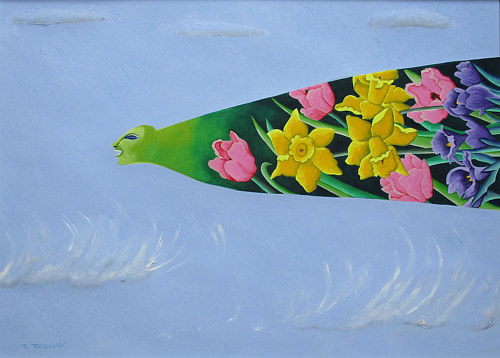 A painting of a personified imagining of spring