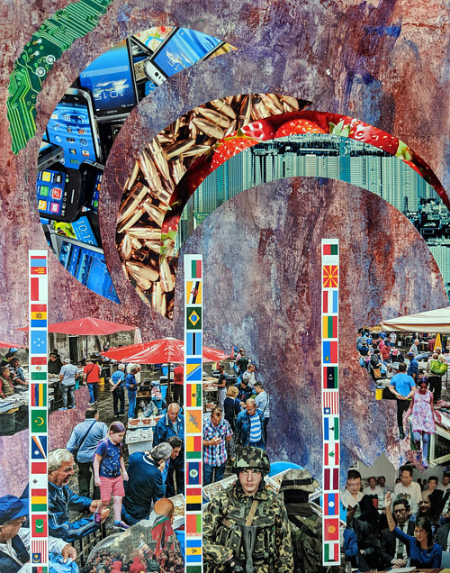 A mixed media collage with national flags and scenes of crowds