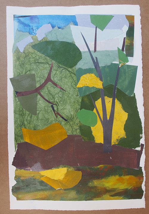 A collage with large shapes of flat colour