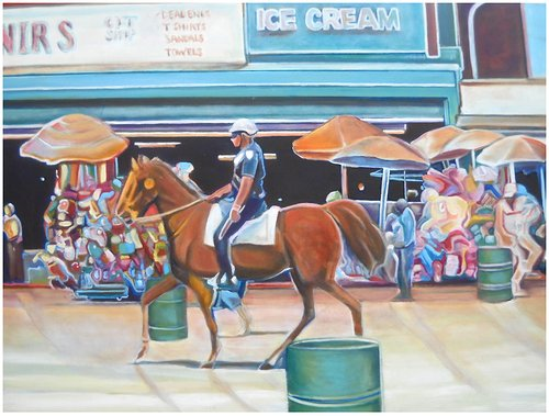 Painting of a police officer riding a horse down the street