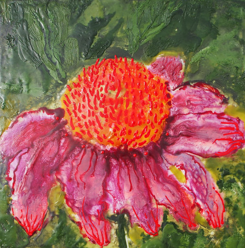 An encaustic painting of an echinacea flower