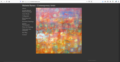 A screen capture of Michele Barnes' art portfolio website