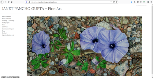 A screen capture of Janet Pancho Gupta's art portfolio website