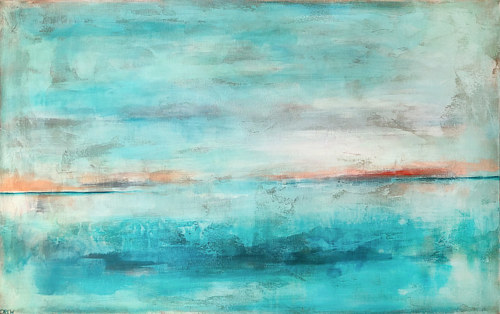 An abstracted landscape painting with bright teal hues