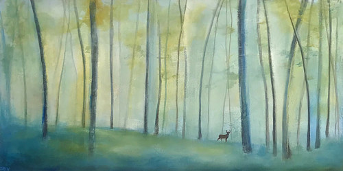 A painting of a hazy forest with a silhouetted deer