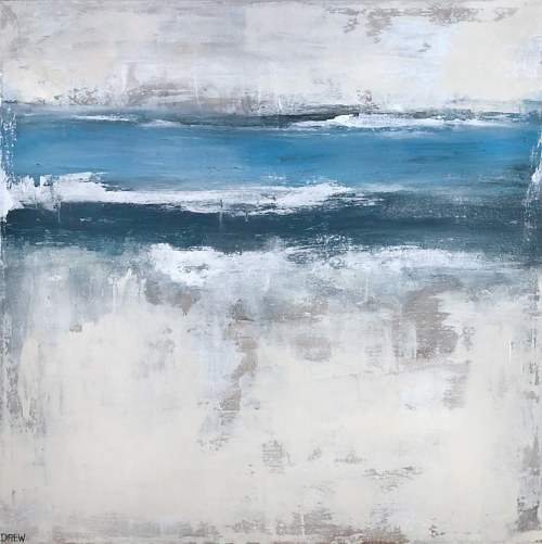 A textured abstract painting with white and blue strips of colour