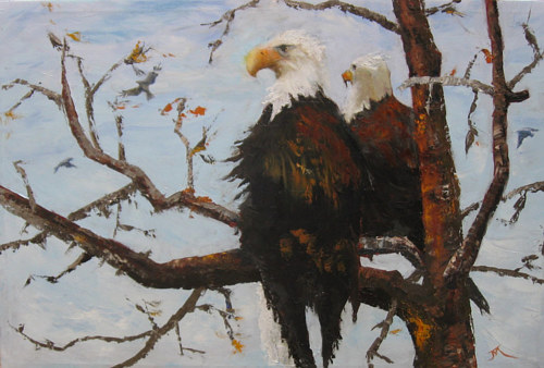 A painting of a pair of eagles in a tree