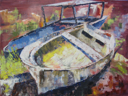 A painting of two gutted boats on a shore