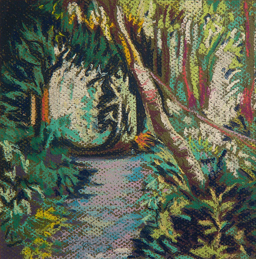A pastel drawing of a forest path