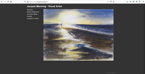The front page of Jacquie Manning's art portfolio website