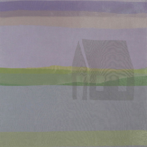 A textile-based image with a ghostly image of a house