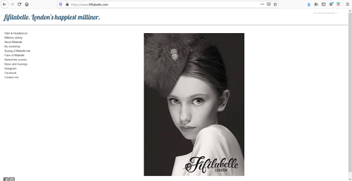 A screen capture of Fifilabelle's millinery art portfolio website