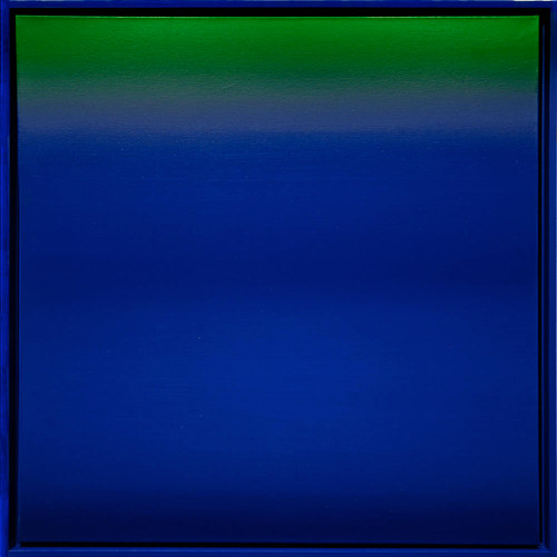 A painting with a gradient of green and blue
