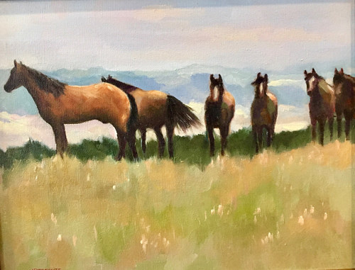 A painting of some horses in a meadow