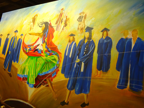A photo of a custom mural painted at Mendocino College in California