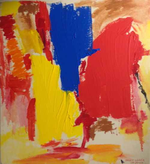 A painting featuring large strokes of primary colour