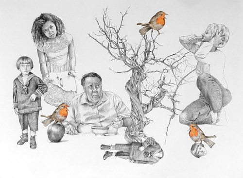A drawing of human figures and birds with moments of bright orange