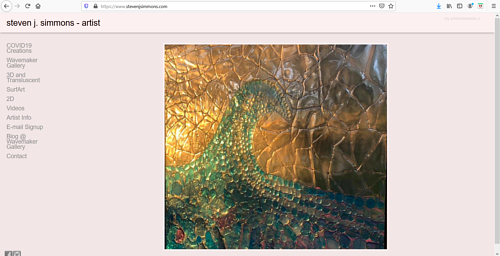 A screen capture of Steven J. Simmons' art portfolio website