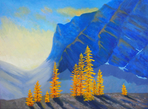 A painting of a row of yellow trees in front of a blue mountain range
