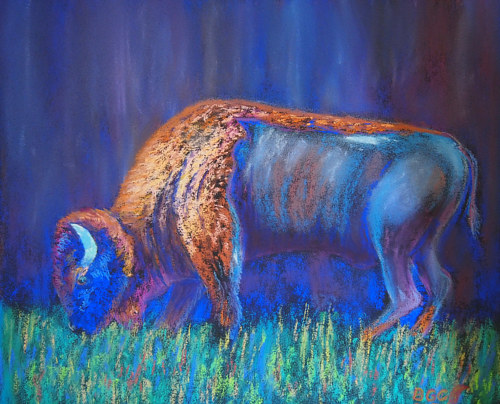 A pastel drawing of a buffalo