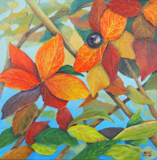 A pastel drawing of autumn leaves in closeup