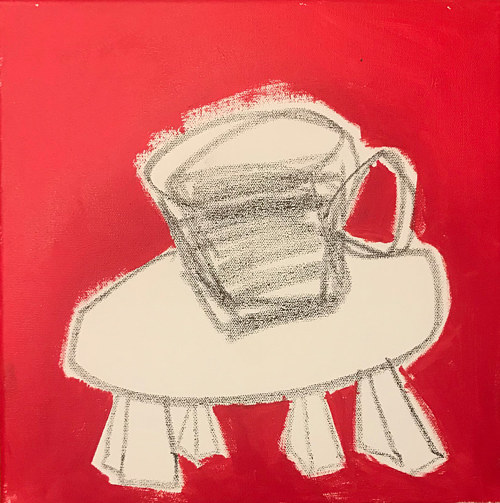 A painting of a mug on a table with a bold red background