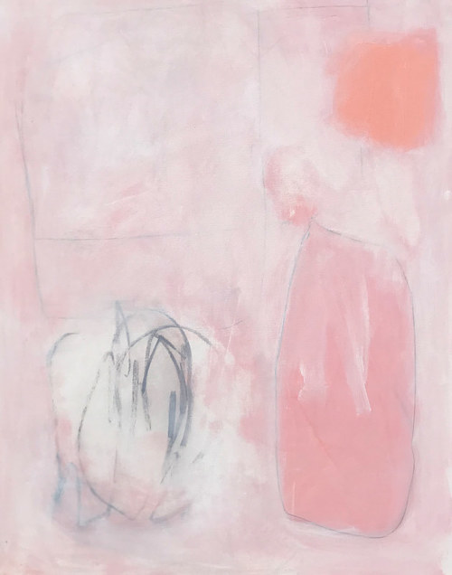 A painting with pastel pink tones and darker lines