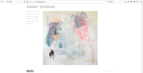 A screen capture of Sarah Trundle's art portfolio website
