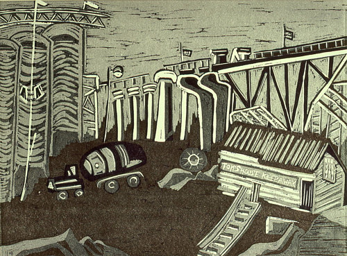 A reduction linocut print of a scene in Vancouver