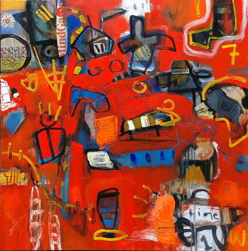 A painting with abstract forms on a crimson background