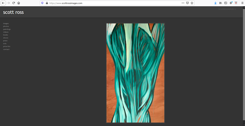 A screen capture of Scott Ross' art portfolio website