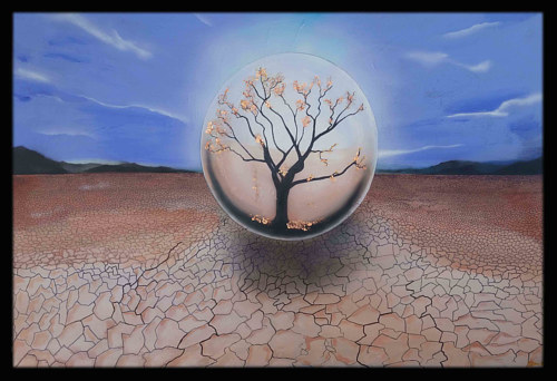 A painting with a tree captured in an orb