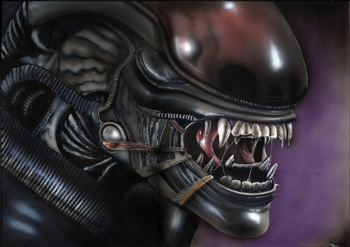A painting of the xenomorph from the Alien movie franchise