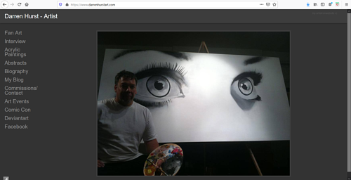 A screen capture of Darren Hurst's art portfolio website