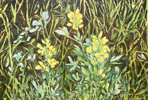 A painting of flowering plants in tall grass