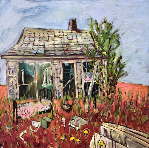A painting of a delapidated house in an overgrown field