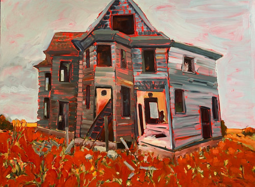 A painting of a house made with bright red highlights